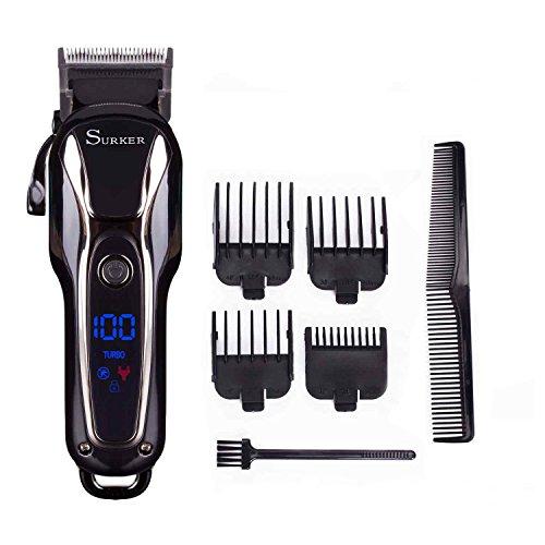 Surker Cortadora de cabello Cortapelos para hombres Recortador de barba de Pecisión Máquina de Barba Recargable Pantalla LCD Profesional