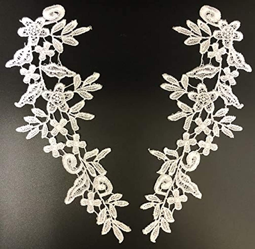 PEPPERLONELY 1 Pair White Lace Flower Applique Patches Embroidery Sewing Craft Decoration, 24.5 X 8.5cm