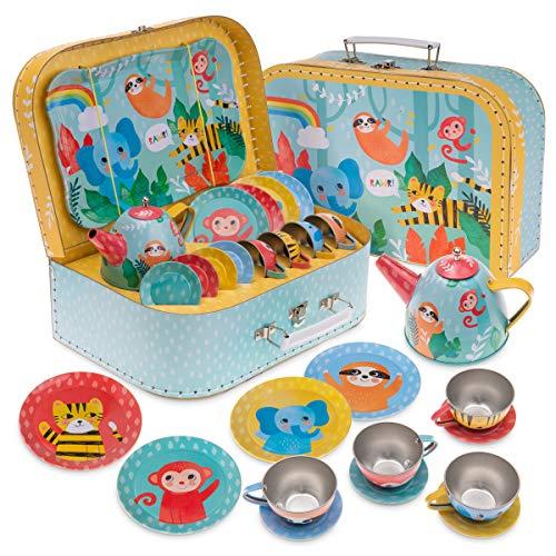 Jewelkeeper 15 Piece Kids Pretend Toy Tin Tea Set & Carrying Case - Jungle Design