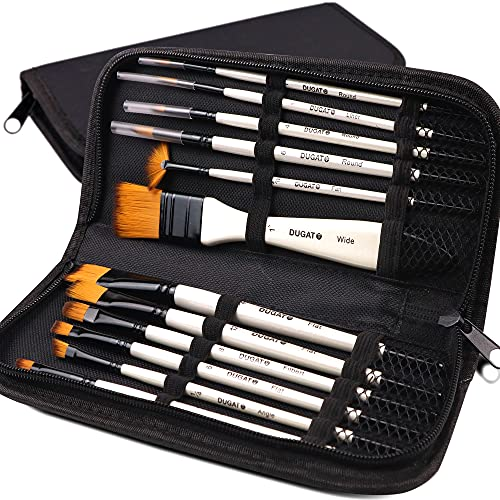 Professional Artist Paint Brush Set of 12 Includes a Carrying Case, Synthetic Hair Brushes for Oil, Watercolor and Gouache Painting for Kids, Beginner and Professional