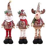 Decoraciones de muñecas de Navidad, Peluche de Navidad, Navidad sentado Santa Claus muñeco de nieve reno Navidad ornamento, Juguete navideño de pierna larga, Decoración de Navidad
