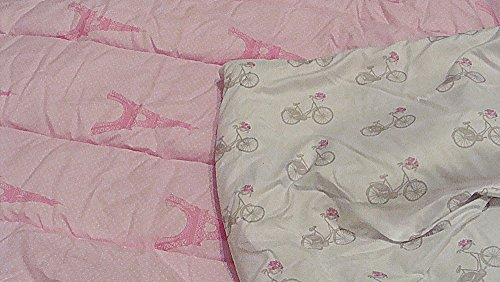 Nicole Miller Paris Eiffel Tower Bicycle Pink White Polka Dot Sleeping Bag