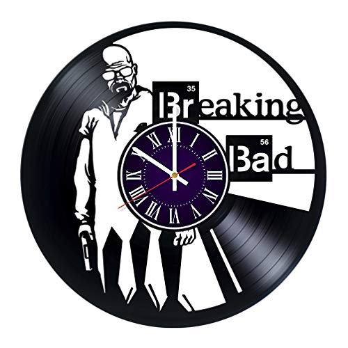 Breaking Bad Vinyl Record Wall Clock - Room Wall Decor - Art Gift Modern Home Record Vintage Decoration Gift for Him and Her - Gift for Fan Gifts for Boys Man Girls w