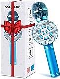 Microfono Karaoke per Bambini NASUM, Microfono bluetooth Wireless con Altoparlante per la Registrazione e la Riproduzione, Funzione Eco, Compatibile con Android/iOS (Blu)