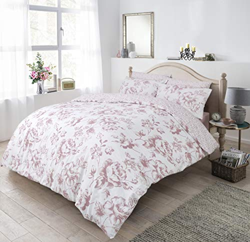Sleepdown Floral Monochrome Blush Duvet Set - Single Size Bedding Quilt Cover & Pillowcases Good Nights Sleep