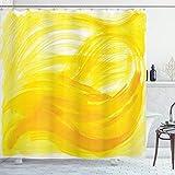 ABAKUHAUS Gelb & Weiß Duschvorhang, Pinselstriche, Waschbar & Leicht zu pflegen mit 12 Haken Hochwertiger Druck Farbfest Langhaltig, 175 x 200 cm, Gelbe Ringelblume