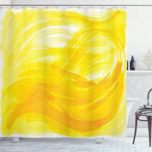 ABAKUHAUS Gelb und Weiß Duschvorhang, Pinselstriche, Waschbar und Pflegeleicht mit 12 Haken Hochwertiger Druck Farbfest Langhaltig, 175 x 200 cm, Gelbe Ringelblume