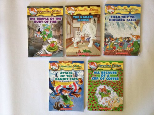 Geronimo Stilton 5 Book Box Set: Field Trip to Niagara Falls, The Karate Mouse, The Temple of the Ruby of Fire, All Because of a Cup of Coffee, Attack of the Bandit Cats