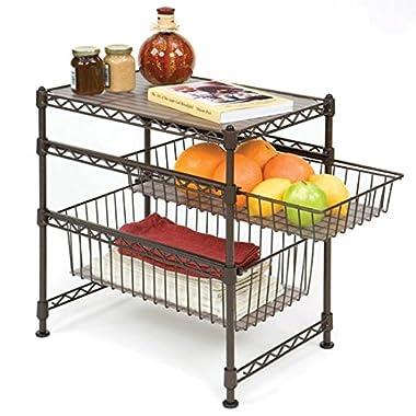 Seville Classics Stackable 3-Tier Sliding Double Basket Cabinet Organizer with Bonus Liners, 11.5  W x 17.5  D x 18.5  H, Satin Bronze