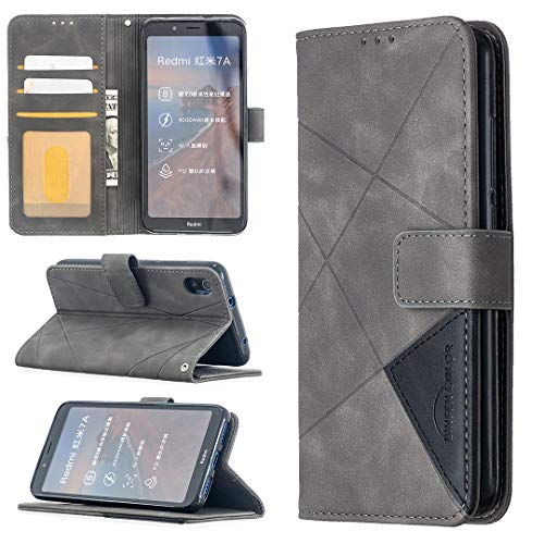 LODROC Xiaomi Redmi 7A Hülle, TPU Lederhülle Magnetische Schutzhülle [Kartenfach] [Standfunktion], Stoßfeste Tasche Kompatibel für Xiaomi Redmi 7A - LOBFE0700446 Grau