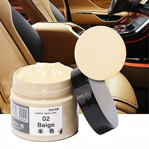 Kit de crema de relleno de reparación de cuero de 50 ml, crema de restauración de cuero, bálsamo para colorear cuero, para muebles/asientos de coche/cinturón/botas (Beige)