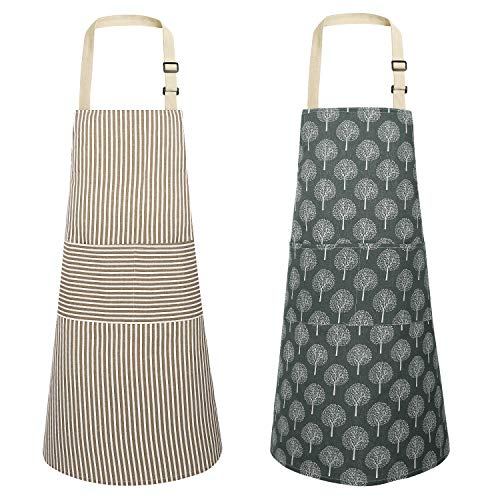 JOYPEA Cotton Linen Cooking Aprons Waterproof Adjustable 2 Pack Kitchen Apron Forest Stripes