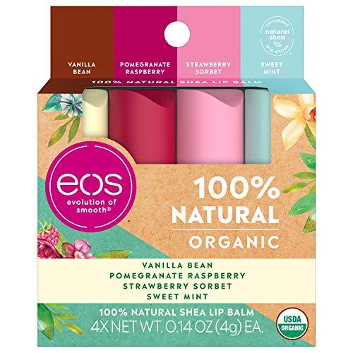 EOS, Lip Balm Hidratante Labial 100% natural orgânico, Caixa com 4 bastões, 4gr cada