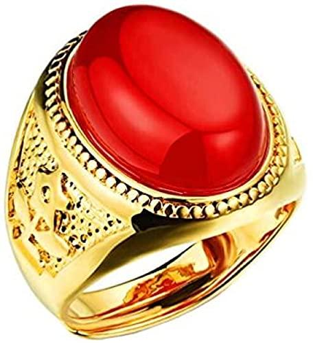 Anillos de banda de ónix ovalados de compromiso de rubí esmeralda chapado en oro de 18 quilates de acero inoxidable para hombre ajustables