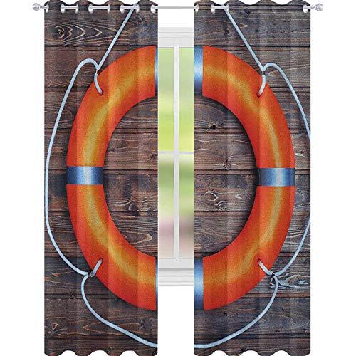YUAZHOQI Booy - Cortinas para sala de estar, una boya salvavidas en la pared de madera, equipo de rescate de emergencia para puerta de cristal, 132 x 182 cm, color naranja, gris y marrón
