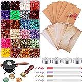 656 Pezzi Kit di Cera Sigilli, Includono Perline di Ceralacca Ottagonale, Candele, Scaldatore, Cucchiaio di Fusione, Buste Vintage, Timbro, Pennarello e Fiori Secchi per Timbro di Cera Sigillo