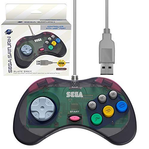 Retro-Bit Official Sega Saturn USB Controller Pad (Model 2) for Sega Genesis Mini, PS3, PC, Mac, Steam, Switch - USB Port - Slate Grey