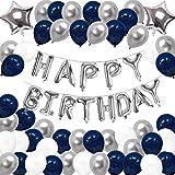 SUNPAT Decoraciones de Globos de Cumpleaños,Feliz Cumpleaños Banner Estrella Globos 30 años 40 años 50 años 60 años 70años Cumpleaños Decoraciones Globos de Cumpleaños (Azul)