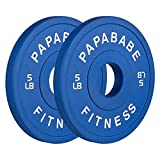papababe Olympic Change Plates 2 inch Fractional Weight Plates Designed for Olympic Barbells for Strength Training(A pair of 5lb plates)