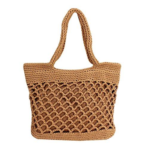 Millya Damen-Handtasche aus Stroh, handgefertigt, gewebt, gehäkelt, Griff oben, Urlaub, Strand, Braun - braun - Größe: Einheitsgröße