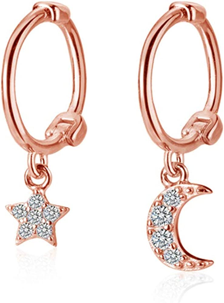 Product Dainty Moon Star Small Hoop 4 years warranty Earrings for Sterling Women Silver T