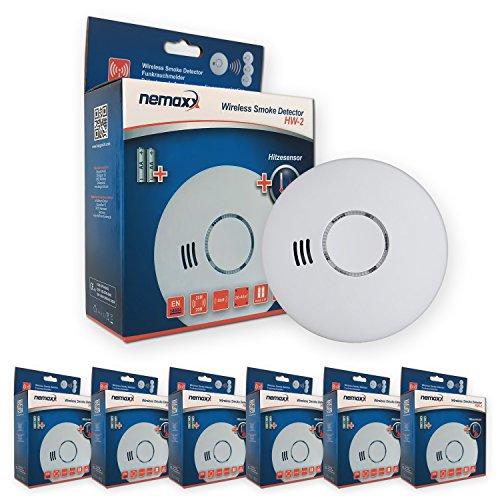 Nemaxx 6HW2 6X HW-2 Funkrauchmelder-hochwertiger Rauchmelder mit kombiniertem Rauch-und...