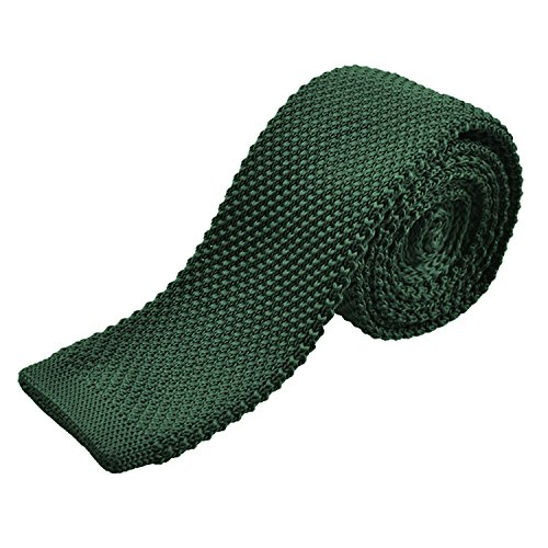 Alizeal Estructura–Corbata Estrecha de Punto para Hombre Verde Oscuro