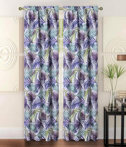 Sapphire Home 2 Rod Pocket Curtain Panels 84 Inches, Floral Tropical Print, Light Filtering Room Darkening Thermal Foam Back Lined Curtain Panels for Living/Bedroom/Patio, Beige/Brown, W6