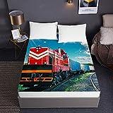 Bedclothes-Blanket Microfibre Fitted Sheet,3DFittedSheetsTourist Train PremiumMicrofiberBeddingSheetswithDeepPocket30cmforDoubleKingSingleSizeBed-150x200x30cm_5