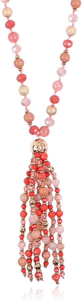 Bohemian Pendant Beaded Long Statement Necklace Direct stock discount Crysta Sparkly New life -