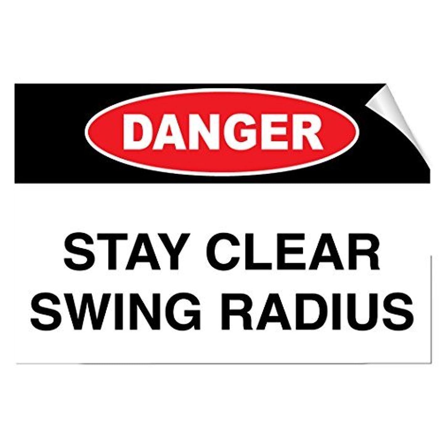 Danger 1 Stay Clear Swing Radius Hazard Vinyl Decal Sticker 10x7 inches