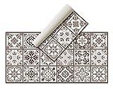 Alfombra Vinílica Hidráulica (120 x 60 cm, Marrón) - Distintos Colores y tamaños - Alfombra Cocina, baño, salón Comedor - Antideslizante - Alfombra Dormitorio - Goma esponjosa y Suelo PVC