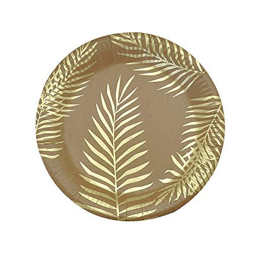Wumudidi Einweg-Besteckset aus Bronzing-Palmblattpapier - Umweltfreundlich, biologisch abbaubar, kompostierbar, Einweg-Holzteller