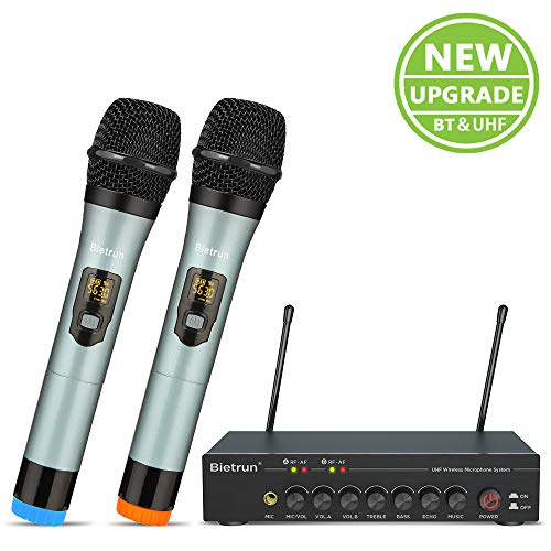 Wireless Microphone with Bluetooth (Echo, Treble, Bass), UHF Dual Wireless Dynamic Handheld Metal...