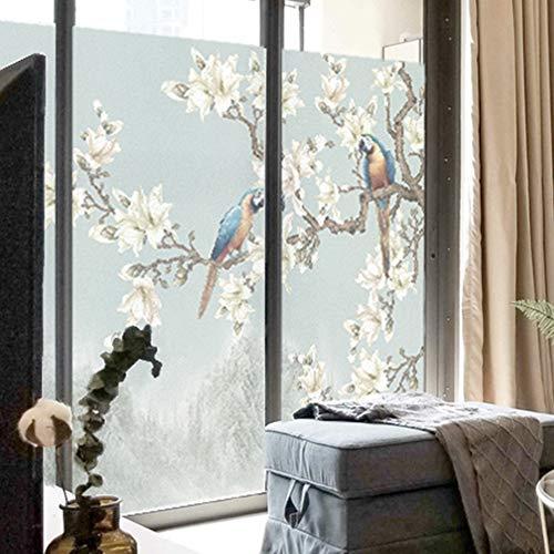 JJZZ Fensterfolie Blumen- und Vogelglasaufkleber beleuchten lichtdurchlässiges undurchsichtiges bereiftes Zellophanbadezimmer