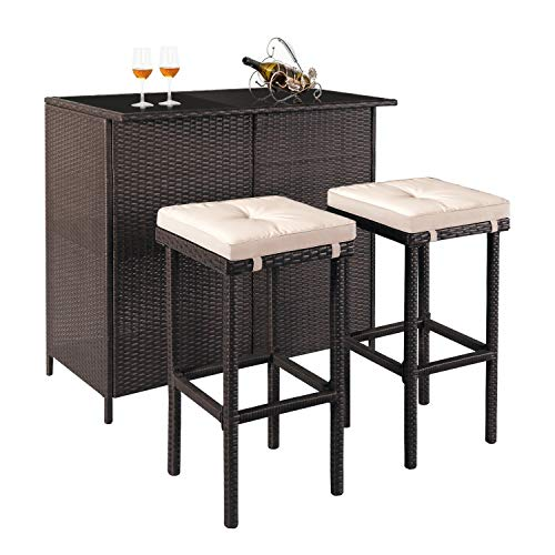 SOLAURA 3-Piece Patio Bar Set Brown Wicker Patio Furniture Set Outdoor Rattan Chairs with Glass Table and Large-Capacity Space for Backyards, Gardens or Poolside