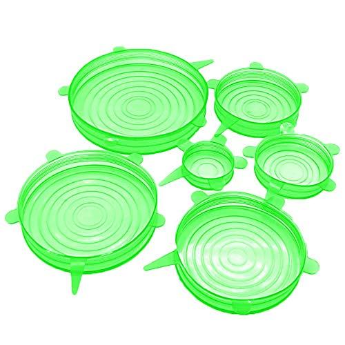 6 Stück Silikon-Deckel für Frischhaltedeckel, wiederverwendbar, für Schüsseln, Töpfe, Deckel, Pfannen, Kochen, Küchenzubehör
