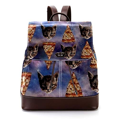 Casual PU Leather Backpack for Men, Women's Shoulder Bag Students Daypack for Travel Business College Cat Star Sky Pizza