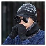 WSY Uomini Inverno Cappello e Sciarpa Guanti 3 Pz Set per Le Donne Sciarpe Cappuccio con Brim Knit Visor Skullies Berretti Maschile Capelli Caldi Balaclava (Color : Black Hat 3 PCS Set)