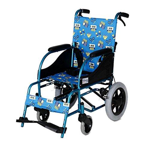 Kinderrollstühle Tragbarer Rollstuhl Aluminiumlegierungsrollstuhl Zusammenklappbarer Manueller Rollstuhl Reiseroller, Tragfähigkeit 80 Kg (Color : Blue, Size : 57 * 82.5 * 96cm)