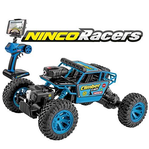 Ninco NH93110 Climber Cam. Coche teledirigido con cámara incorporada. Retransmite en directo, apto para Android y IOS. Tracción total. 2,4Ghz. Color Azul, 28 cm