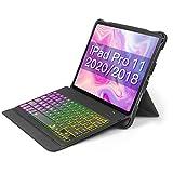Inateck Tastatur Hülle für iPad Pro 11 Zoll 2020/2018(1 und2 Generation, abnehmbare Tastatur mit DIY Hintergr&beleuchtung, QWERTZ, KB02005