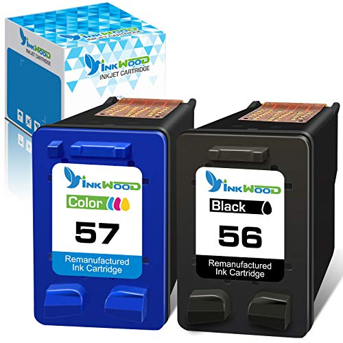 Inkwood Cartucho de tinta Remanufactured 56XL 57XL 56 XL 57 XL para DeskJet 5550 5150 5650 OfficeJet 5610 PSC 1317 1315 1350 2410 1210 1205 2510 PhotoSmart 760 960 (2 paquetes).