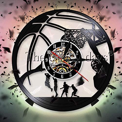 LIMN Jugador de Baloncesto Slam Dunk One Handed Jam Reloj de Pared con Registro de Vinilo Baloncesto Jump Slam Dunk Shot Reloj de Pared Reloj Deportivo
