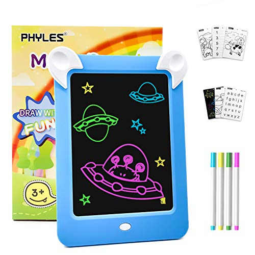PHYLES Magic Drawing Doodle Board, Portable Writing Board, Handwriting Toys for Kids, Draw, Sketch, Art, Educational Toys and Gifts, Includes 10 Stencils, 4 Drawing Pens, 1 Cleaning Cloth (new blue)