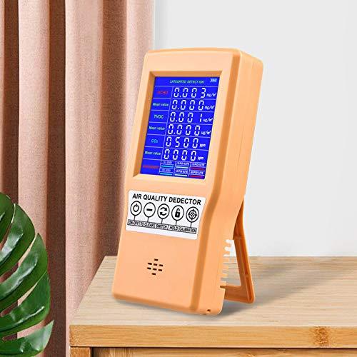 KKTECT Detector de calidad del aire Monitor de gas formaldehído/TVOC/HCHO / CO2 Sensor de polvo del analizador de aire digital portátil