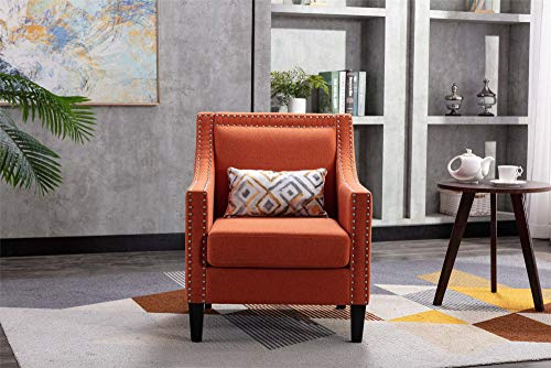 WYI Modern Upholstered Accent Armchair Linen Fabric Accent Chair Reading Chair with Wood Legs Nailhead Studded Wingback Single Sofa Office Guest Chair for Living Room Bedroom