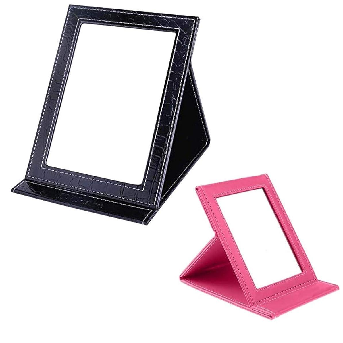 キー軍隊漏れポータブルトラベルバニティミラーデスクトップ折りたたみミラー、化粧品個人用美容用スタンド付き卓上ミラー、化粧鏡メイクアップ用に立っている大型折りたたみミラー