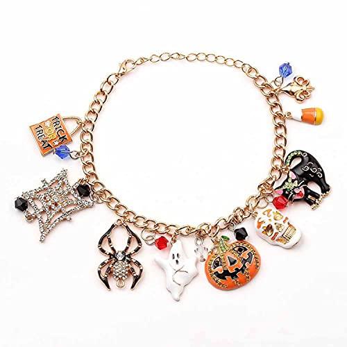 Halloween Bracelet Skull Pumpkin Punk Charm Bracelet, Multi-Element Charm Halloween Bracelet, Alloy Dripping Oil Fashion Adjustable Bracelet for Women