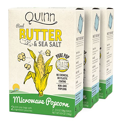 Quinn Snacks Microwave Popcorn - Made with Non-GMO Corn, Real Butter & Sea Salt, 6.9 Ounce (Pack of...